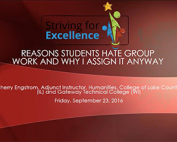Webinar Preview - Reasons Students Hate Group Work