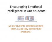 Encouraging Emotional Intelligence Webinar preivew