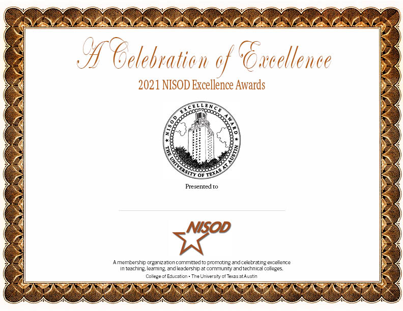 Excellence Awards Certificate